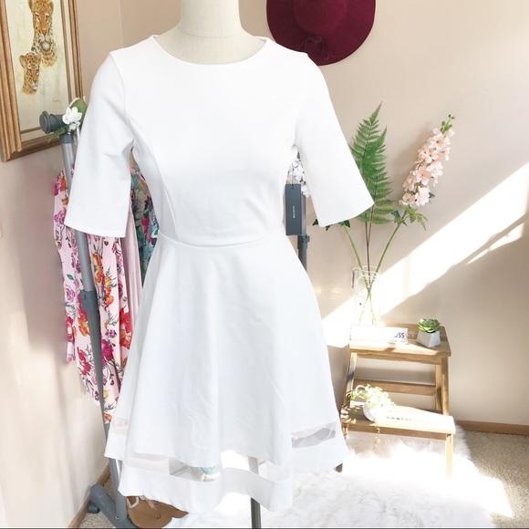 e2126fdf5c8e Lulu's Dresses | Nwt Lulus Sheer Factor White Mesh Skater Dress ...